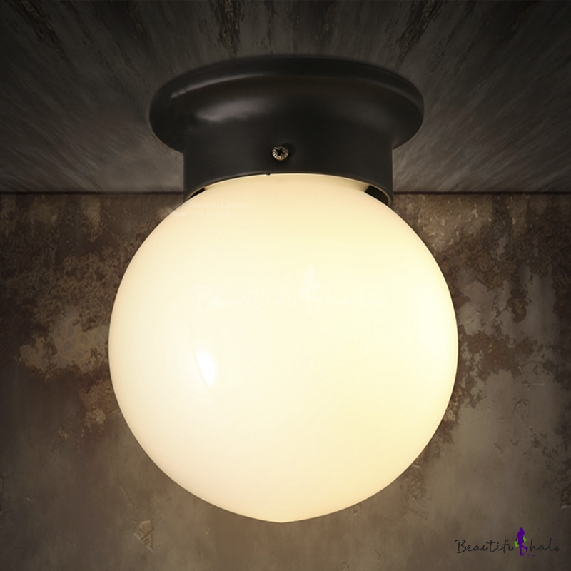 Single Light Led Flushmount Ceiling Fixture In White Globe Shape