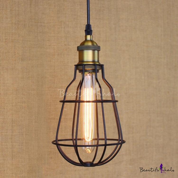 Satin Black 1-Light Wrought Iron LED Mini Pendant With