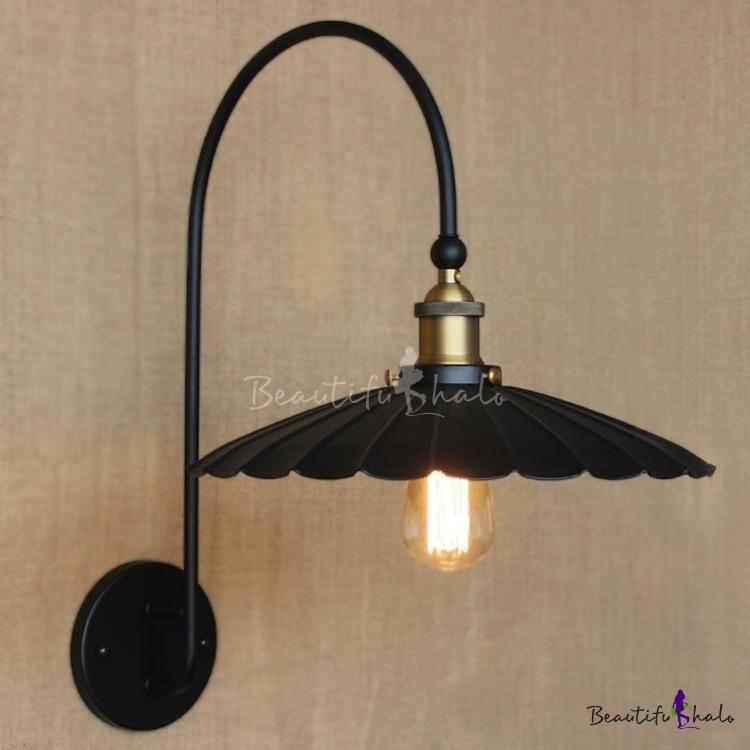 Matte Black Gooseneck 1 Light LED Wall Sconce With Floral