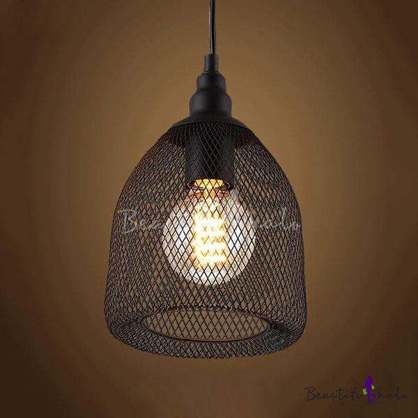 Black Industrial Light Part - 49: Vintage Black Industrial Rustic Metal Mesh Pendant Light Ceiling Lamp Shade  - Beautifulhalo.com