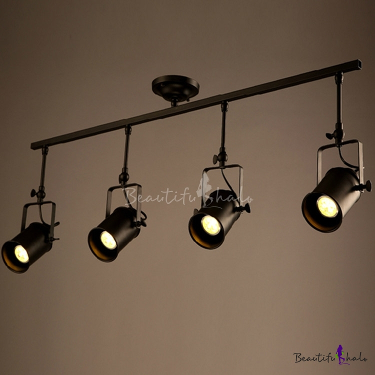 Fashion style spotlight industrial lighting beautifulhalo four lights spotlight led ceiling fixture with cylinder shade aloadofball Choice Image