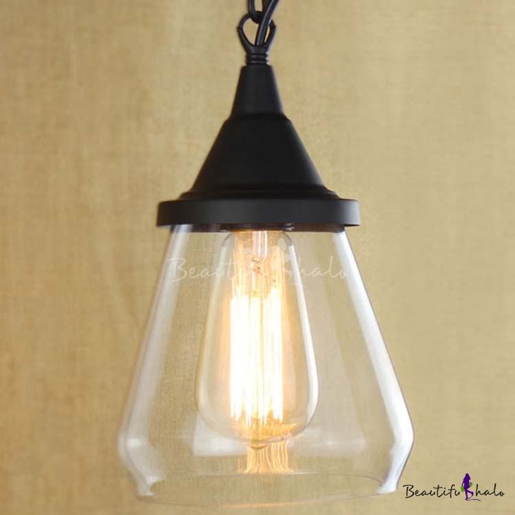 Buy Matte Black 1 Light Clear Glass Mini Pendant
