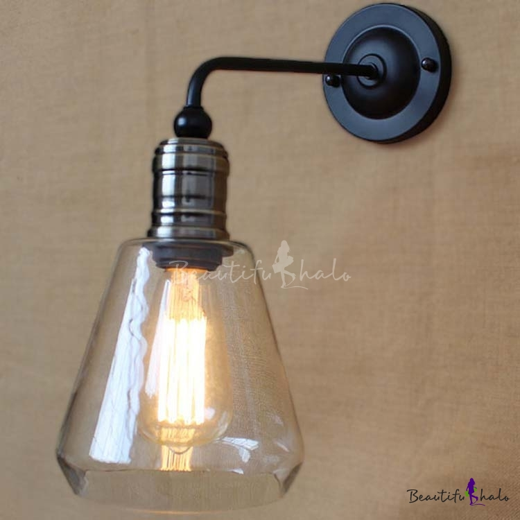 6\'\' H Matte Black Indoor LED Wall Sconce with Clear Glass Shade ...