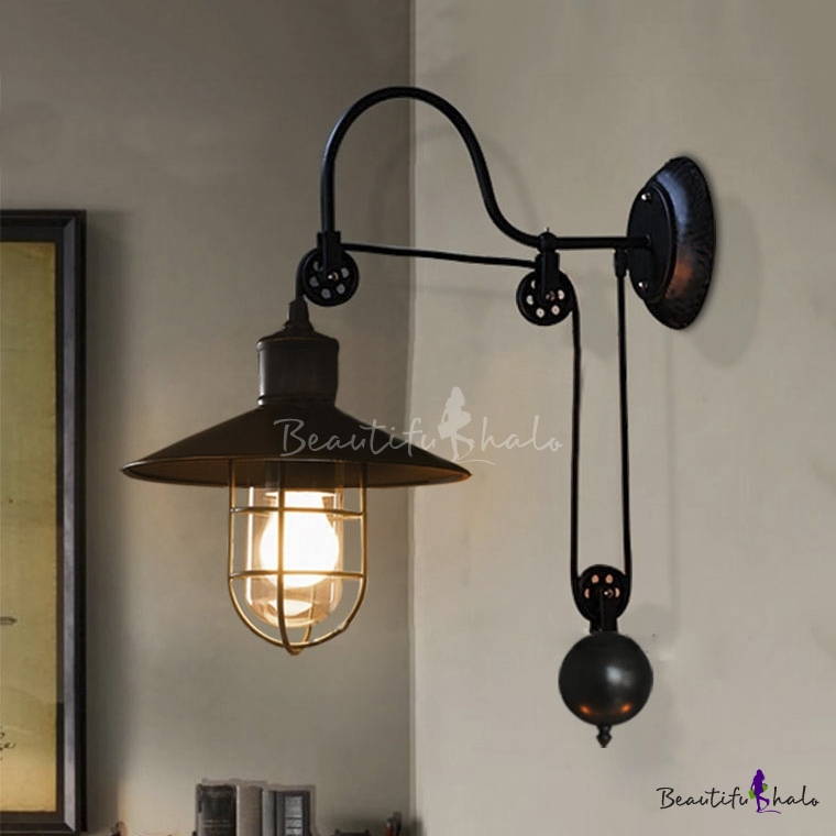 Industrial Farmhouse Style 1 Light Adjustable Wall Sconce in Black - Beautifulhalo.com