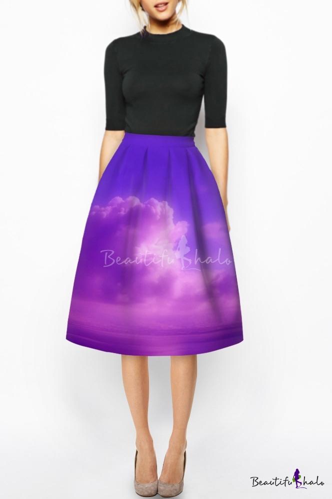Purple High Waist 3D Cloud Sky Print A-Line Midi Skirt ...