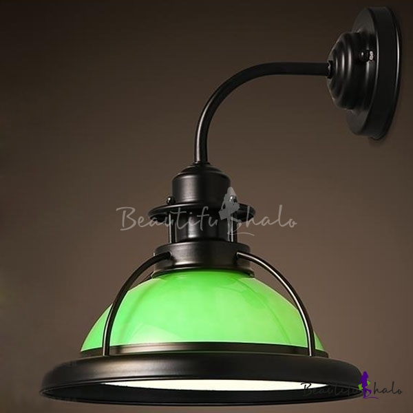 Buy Satin Black Single Light Green Glass Barn Wall Lamp Open Cage