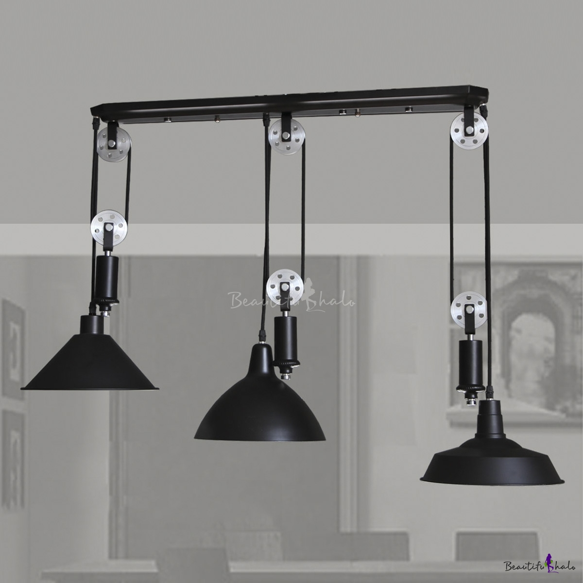 Black 3 Light Pulley Large Led Pendant Light