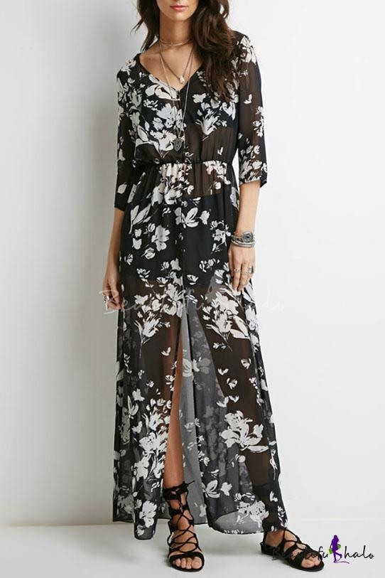 13308a29acdfc 3 4 Length Sleeve V-Neck Vintage Floral Print Sheer Split Front Maxi Dress  - Beautifulhalo.com