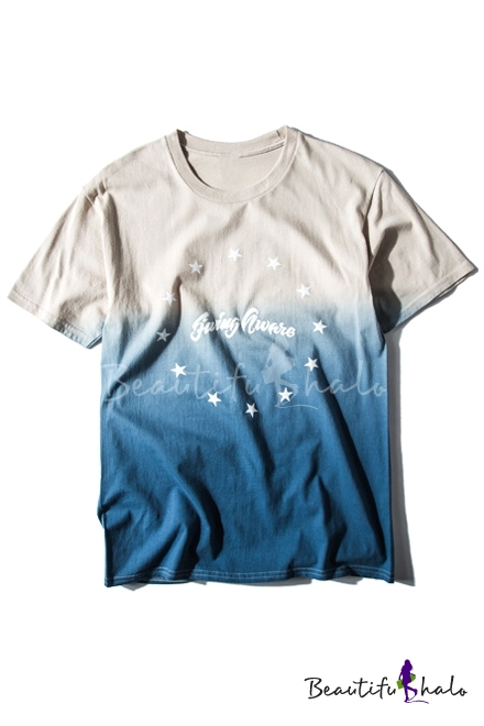 Buy Ombre Star & Letter Print Short Sleeve Loose Tee