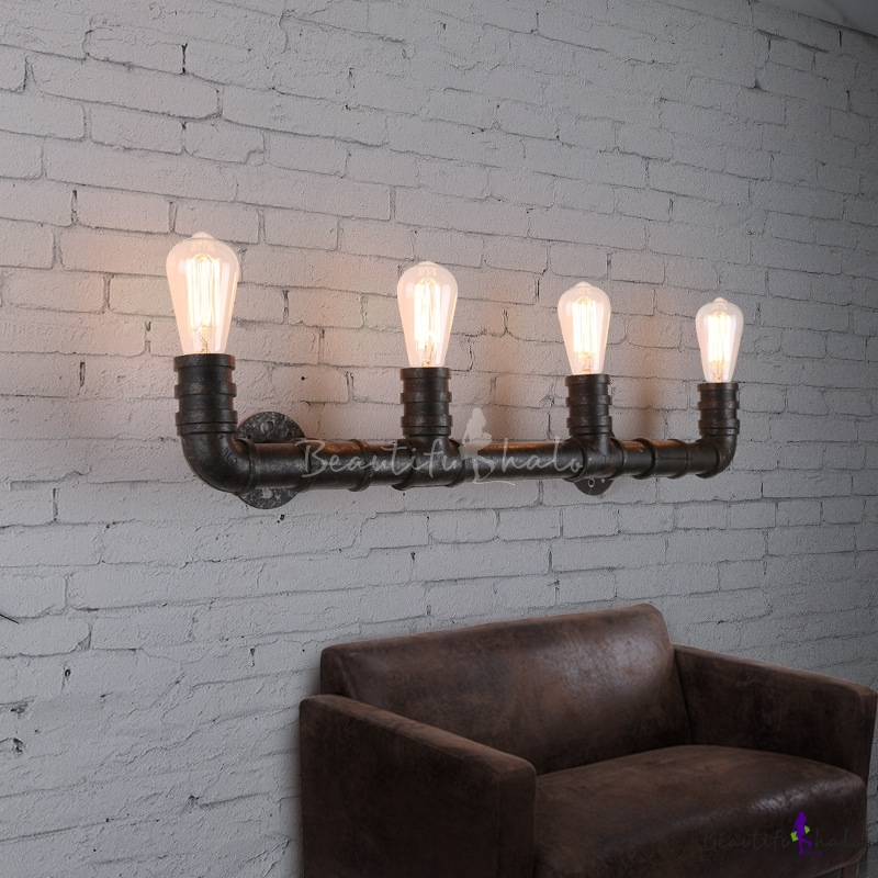 Industrial Pipe Wall Light: Industrial Style 27Inches Wide 4 Light Large Pipe LED Wall