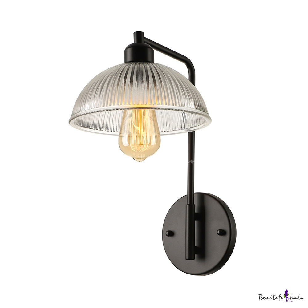 Glass Bowl Wall Lights : Ribbed Glass Bowl Shape 1 Light Wall Sconce in Black Finish - Beautifulhalo.com