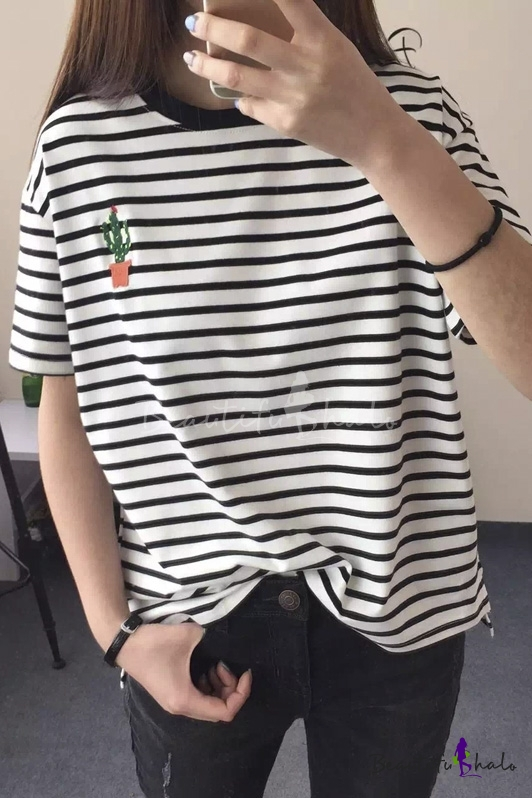 Long Line Cactus Print Stirpe Pocket Loose Fit Tee