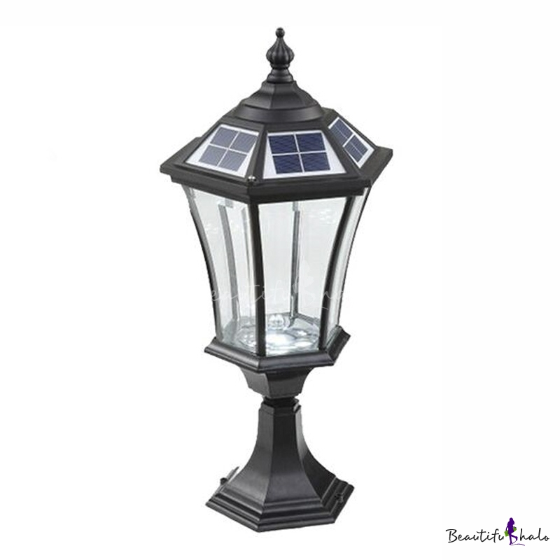 213939 h black finish clear glass solar led outdoor pillar With outdoor light fixtures for pillars