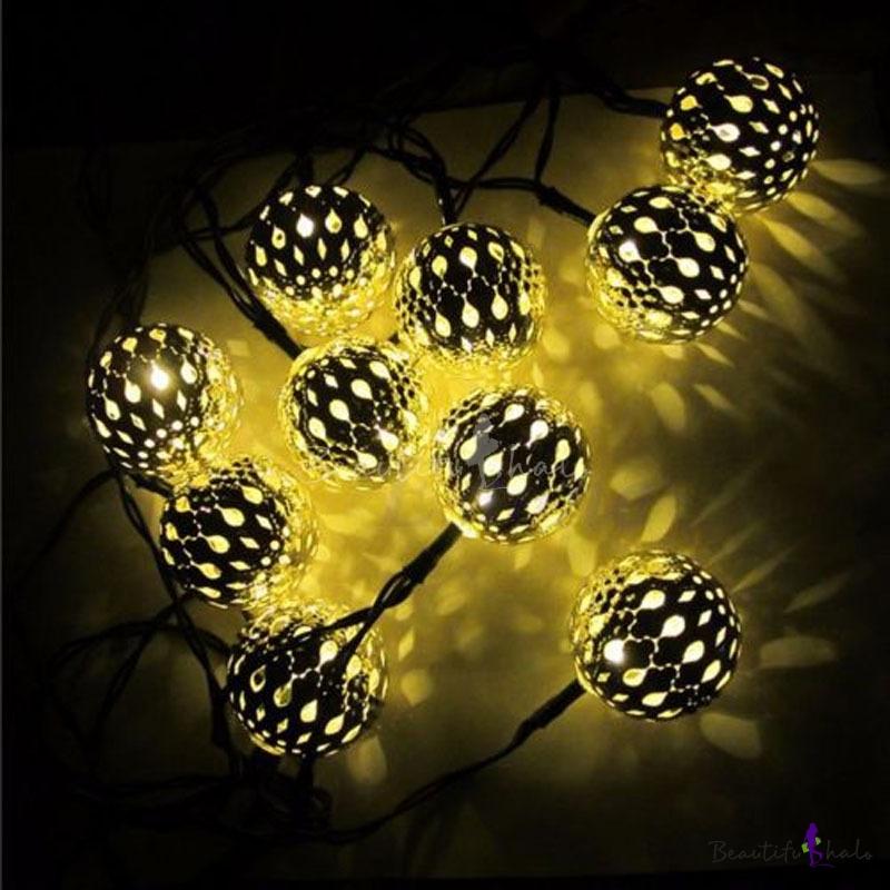 Solar 20 Pics Weatherproof Energy Saving Golden Ball String Lighting Kit - Beautifulhalo.com