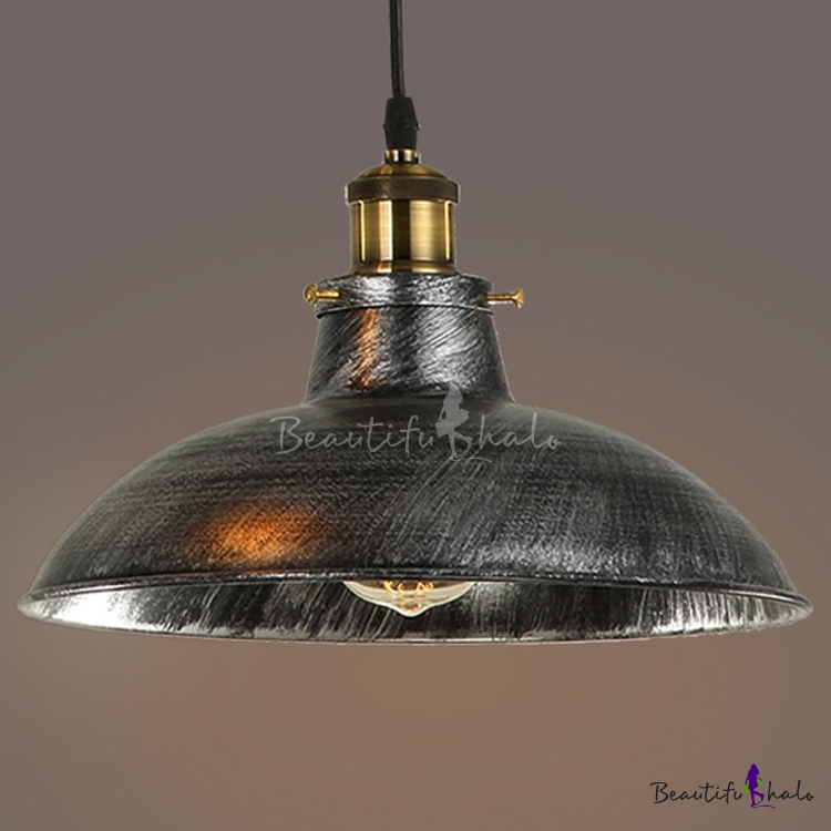 Barn Type Light Fixtures: Dome Shade Single Light Wide Barn Style LED Pendant Light