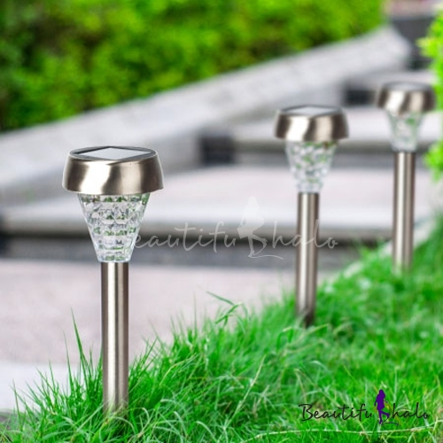 Set of 6 cool white stainless steel 15 inches high solar for Outdoor pathway lighting sets