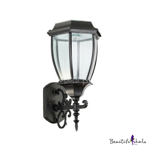 Buy Matte Black Simple Nine Inches Wide Nature Powered LED Outdoor Wall Lamp