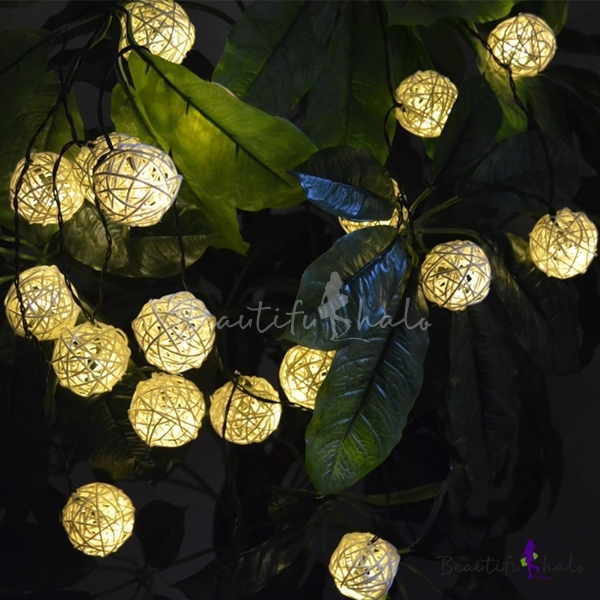 Outdoor String Lights Philippines: 20 Pieces Rattan LED Solar Powered Outdoor String Lighting