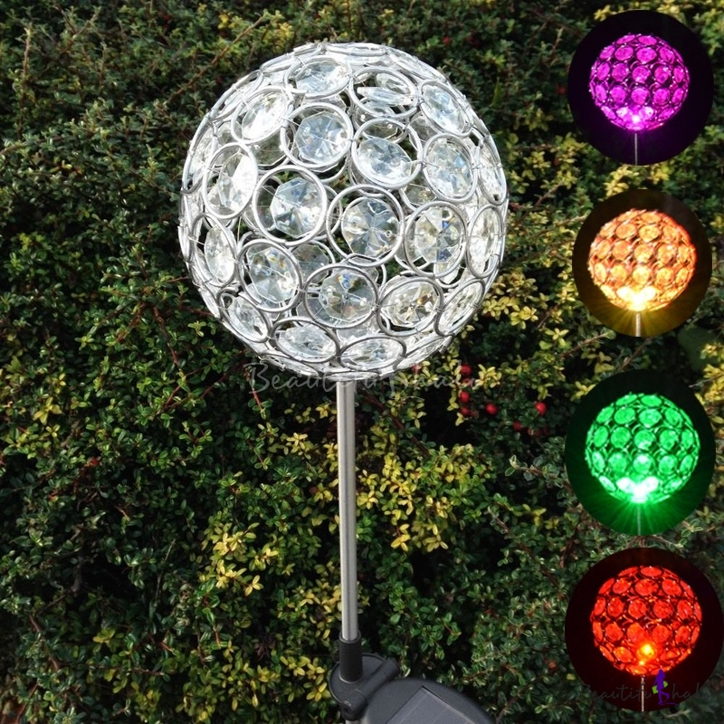 Set of 2 4 39 39 w color changing crystal ball decorative - Decorative garden lights solar powered ...