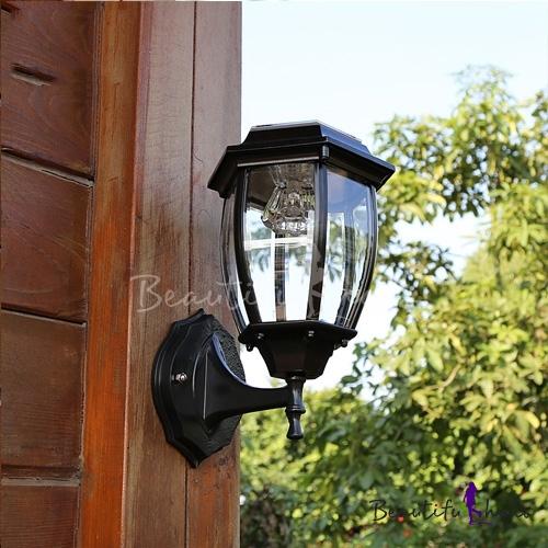 Cheap Outdoor Wall Lights: Seductive Black 11'' High Cheap Small Outdoor Solar LED