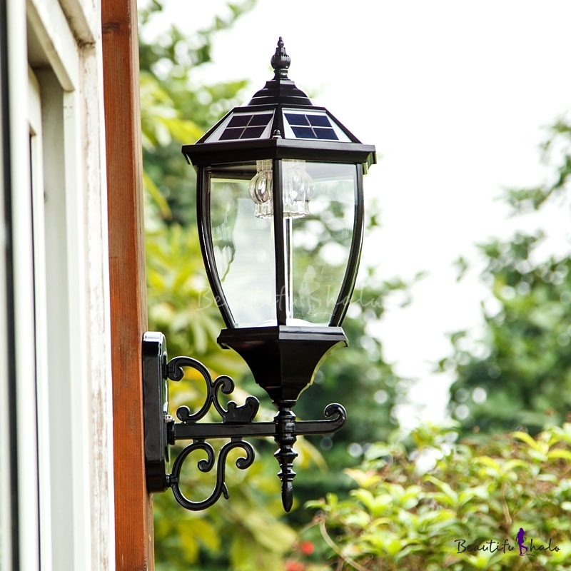 Solar House Wall Lights : 22 H Vintage Style Large LED Outdoor Solar Wall Lighting in Black Finish - Beautifulhalo.com