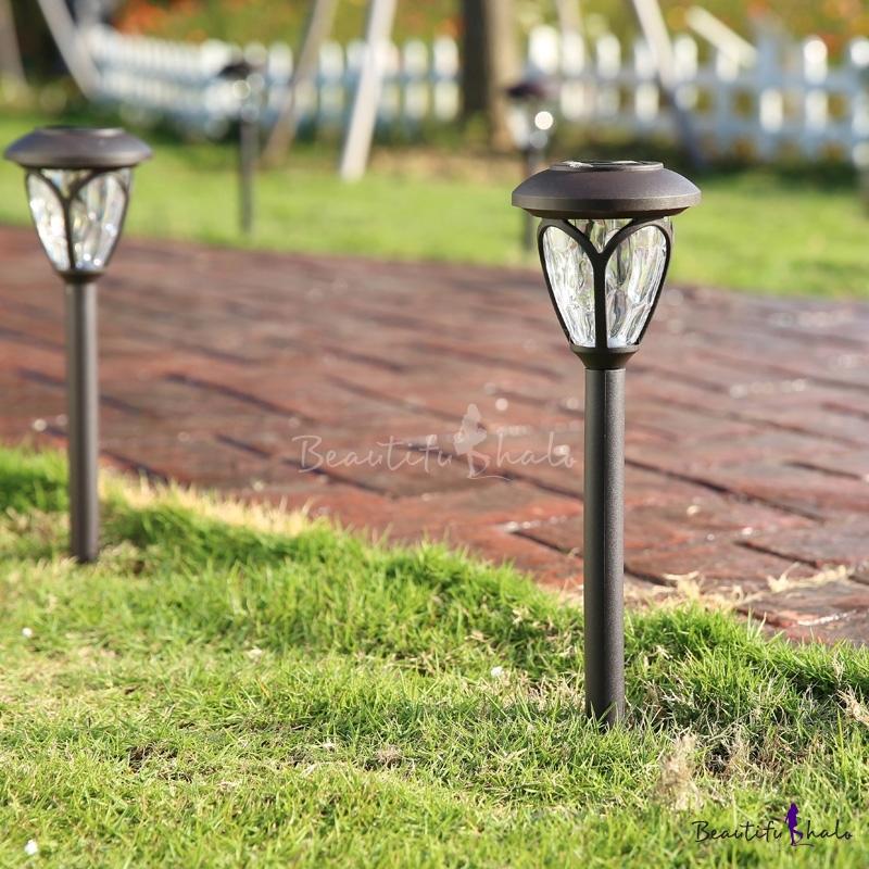 Set Of 2 Light Sensor Solar Powered LED Garden Path Light In Grey Finish    Beautifulhalo.com