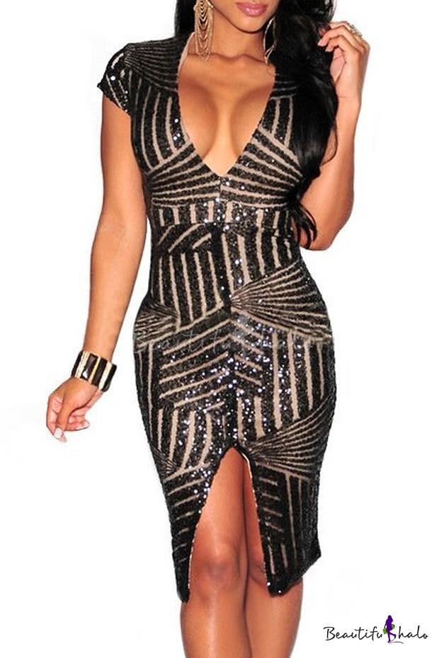 Buy Women Short Sleeve Deep V-Neck Sequin Split Bodycon Cocktail Party Dress