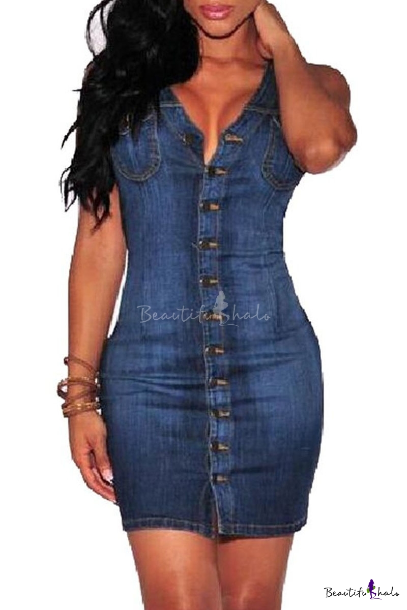 Wommen S Sexy Sleeveless Slim Front Button Denim Bodycon