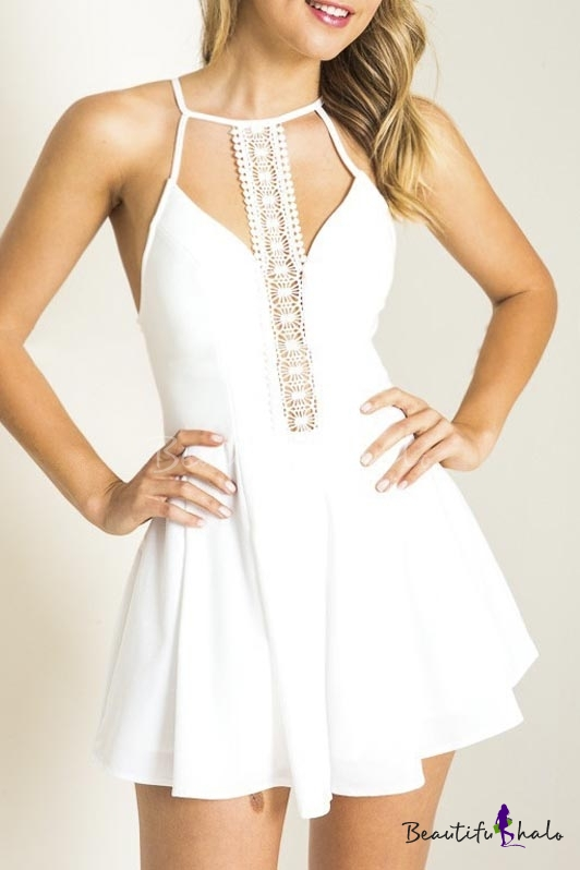Buy Fashionable Lace Insert Sleeveless Rompers