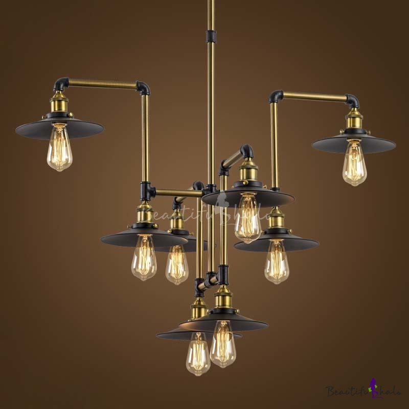 Industrial style 8 light large led pendant chandelier for Old looking light fixtures