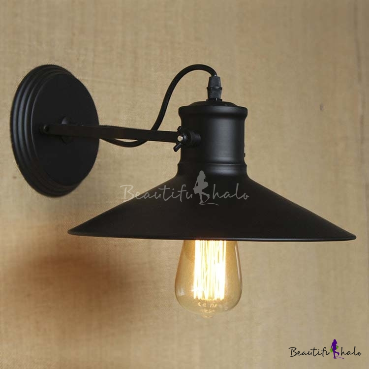 Wall Sconces For Hallway: Satin Black 1 Light Saucer Indoor Hallway LED Wall Sconce