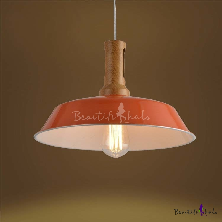 Industrial 1 Light Orange Finished Warehouse LED Pendant
