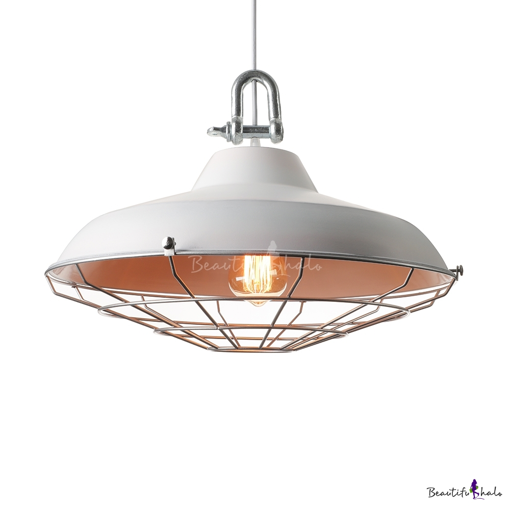 Russian Industrial Pendants: Fashionable 18'' Wide White Finish Single Light Cage LED