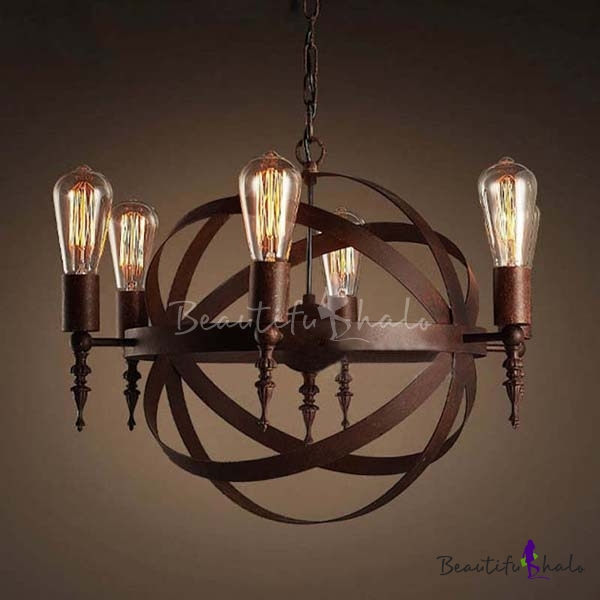 Industrial LED Orb Chandelier Pendant In Antique Copper