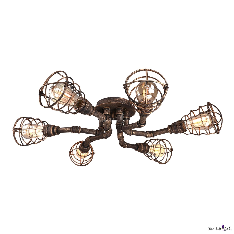 Antique Brass 6 Light Wire Guard Led Semi Flush Ceiling