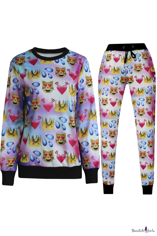 Buy 3D Emoji Printed Teen Jogger Pants Sweatpants Track Suit S-XL