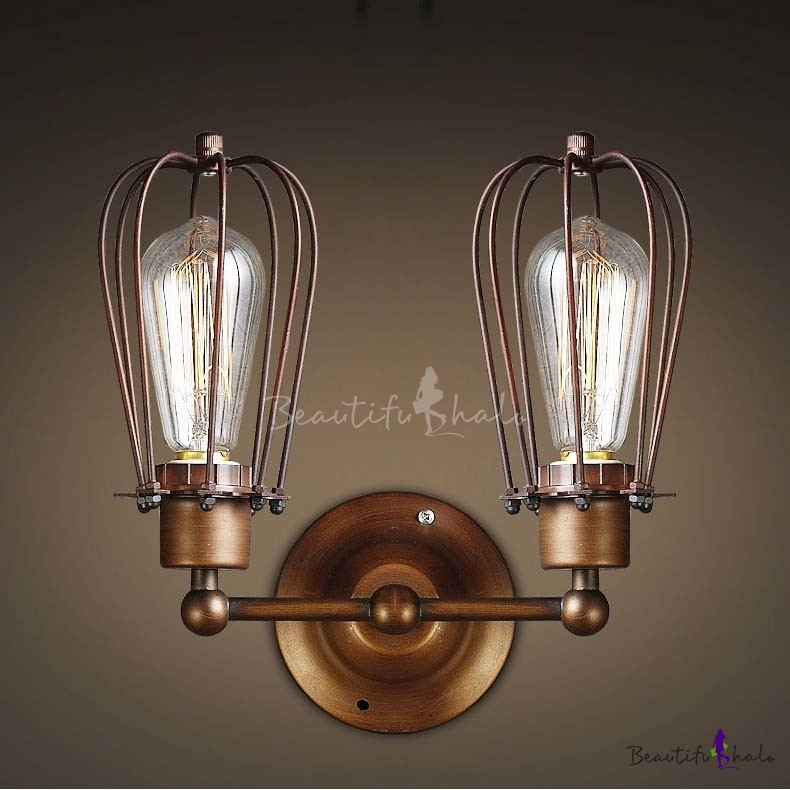 Wall Sconces For Hallway: Wrought Iron 2 Light Indoor Hallway LED Wall Sconce In