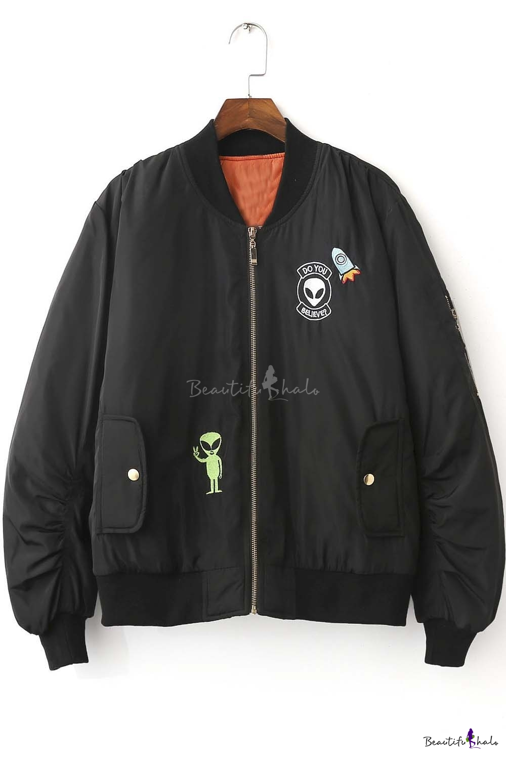 New Arrival Fashion Alien Embroidered Baseball Jacket ...