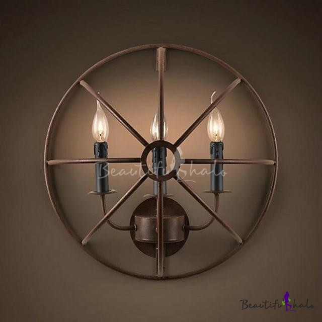 Half Circle Wall Lights : 20 Wide Three Light Large Semi-Circle Hallway Wall Light in Vintage Style - Beautifulhalo.com