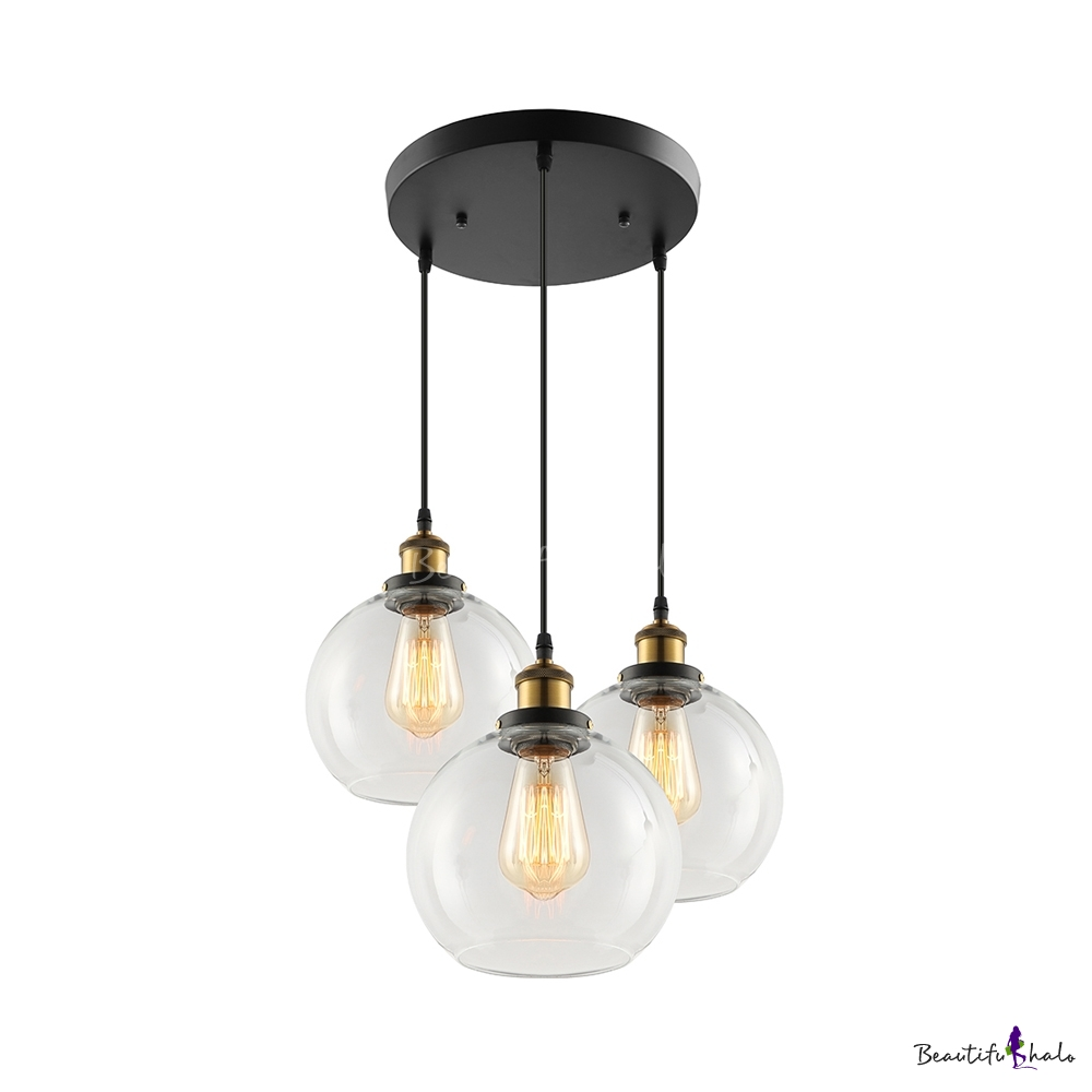 Country style three light led multi light pendant with clear globe shade beautifulhalo com