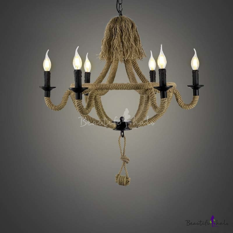 Black Finish 6 Light Rope LED Chandelier With Candle Shade