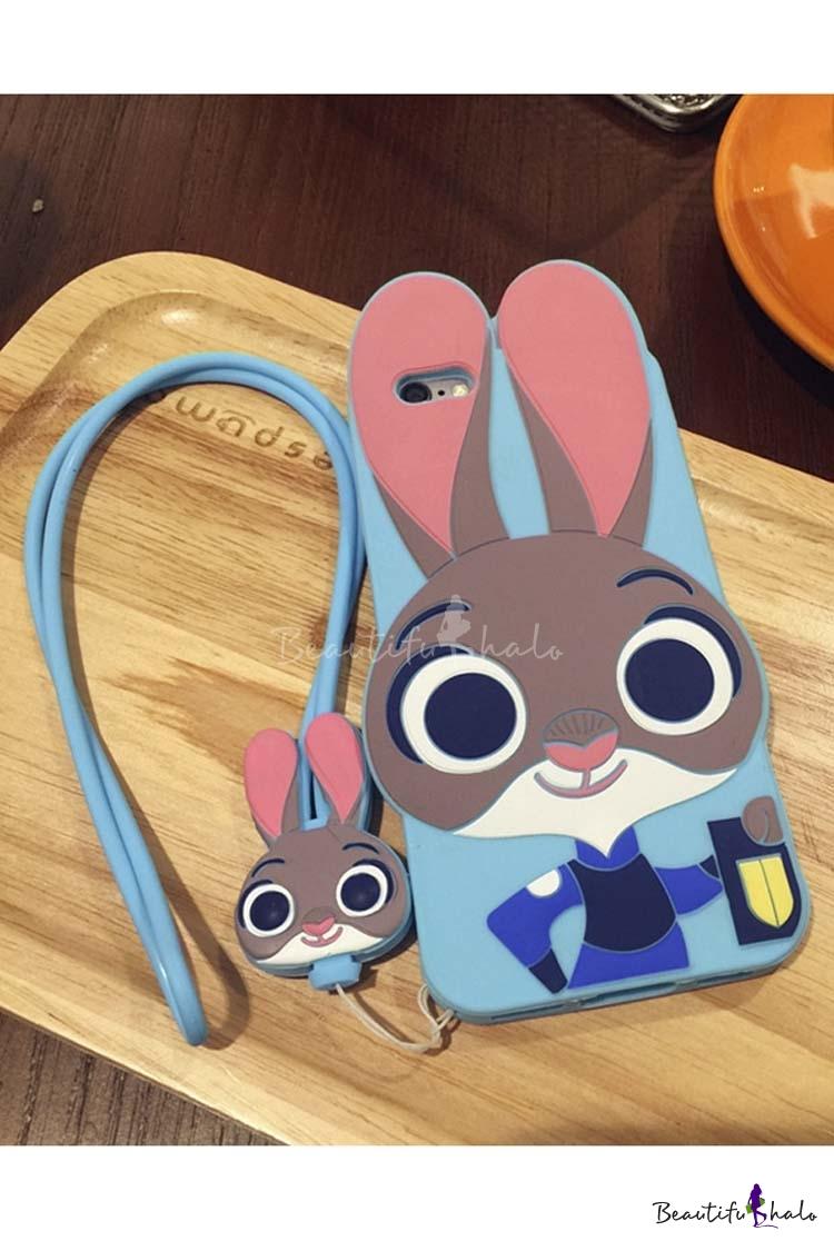 Buy Fashion Cute Cartoon Rabbit Silicone Phone Case iPhone 5/5S 6/6S 6 Plus
