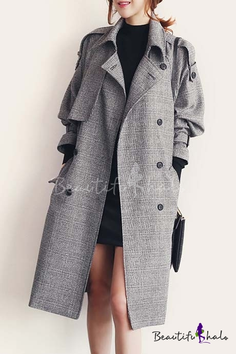 Buy 2016 New Style Plaid Notched Lapel Long Sleeve Longline Trench Coat