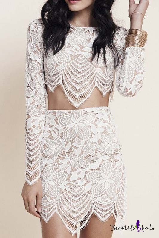 16bde4be9d60d White Floral Crochet Lace Crop Top With Bodycon Skirt - Beautifulhalo.com