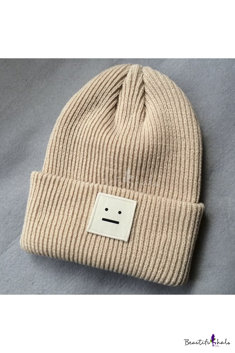 Fashion Curved Trim Square Face Panel Plain Knitted Hat