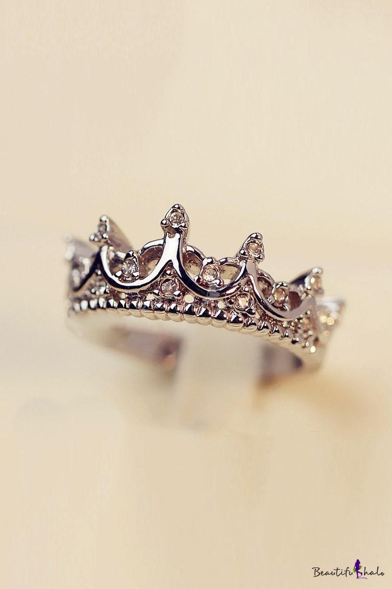 Stylish Crown Design Ring Studded with Diamond - Beautifulhalo.com