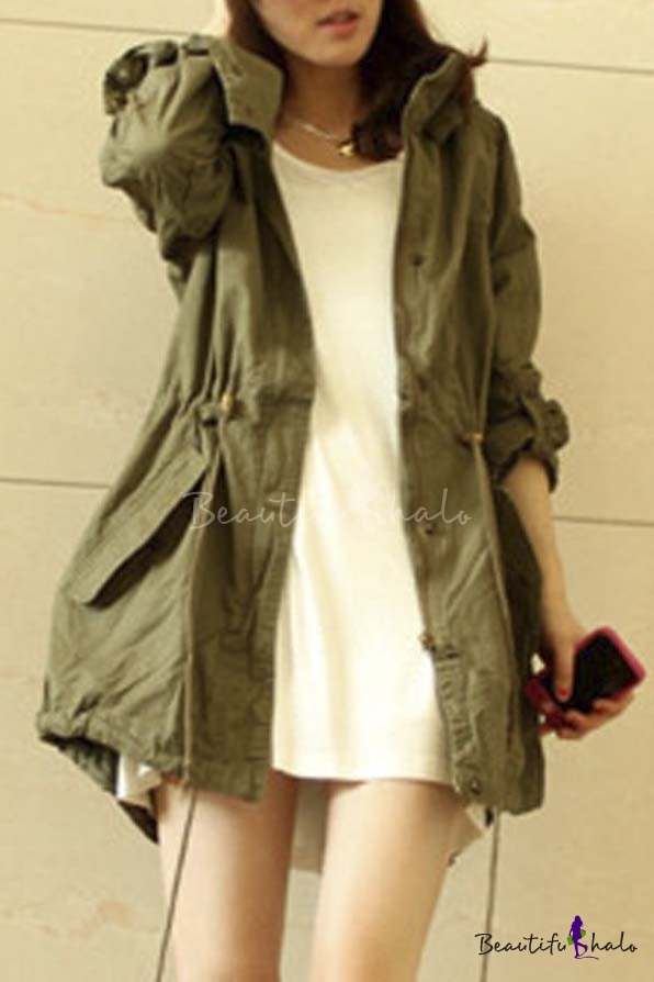 Leisure Girl Army Green Military Parka Button Trench Hooded Coat ...