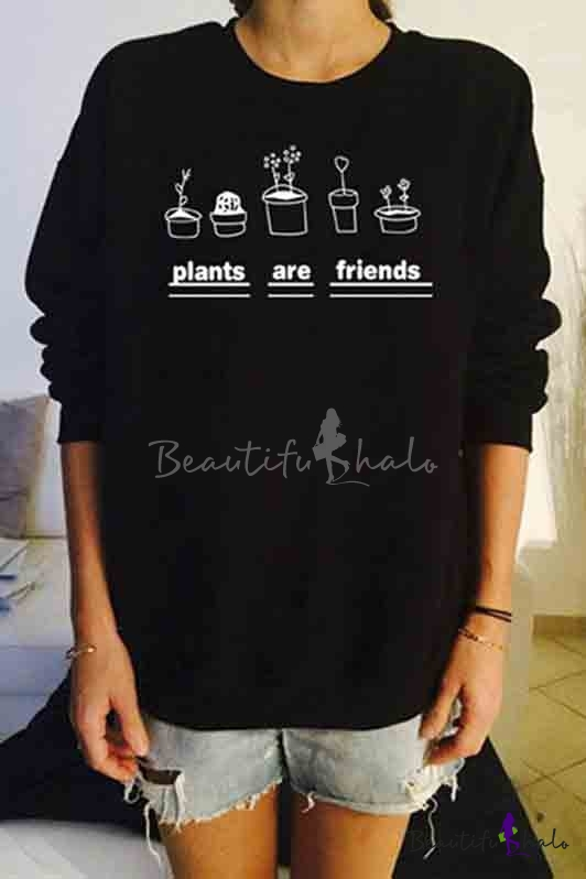 Buy Letter Graphic Print Long Sleeve Round Neck Women's Pullover Sweatshirt
