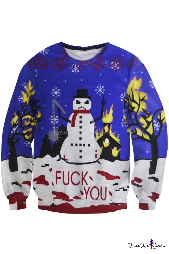 Halo Christmas Sweater.Unisex Funny Print Ugly Christmas Snowman Pullover Sweatshirt