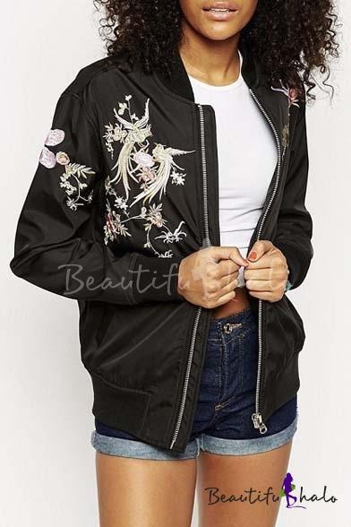 Fashion stand up collar embroidery phoenix pattern zipper